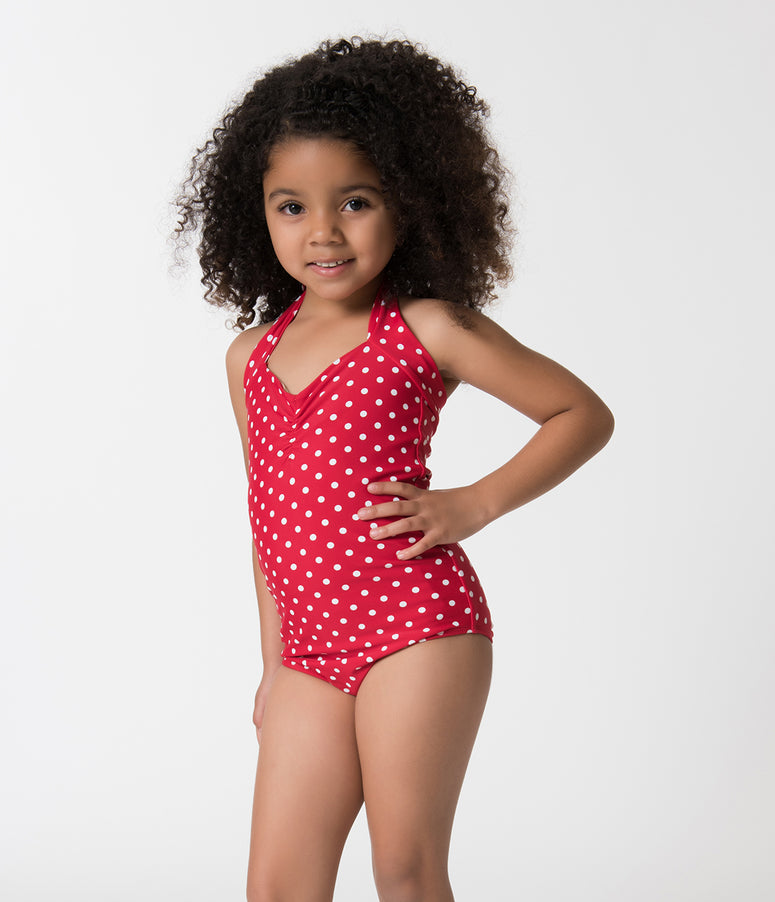 46c9cfaf2ce72 Retro Style Red   White Polka Dot Halter Top Kids One Piece Swimsuit