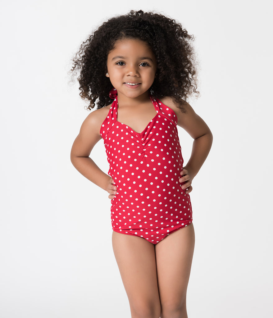 695e80a13c62e ... Retro Style Red   White Polka Dot Halter Top Kids One Piece Swimsuit ...