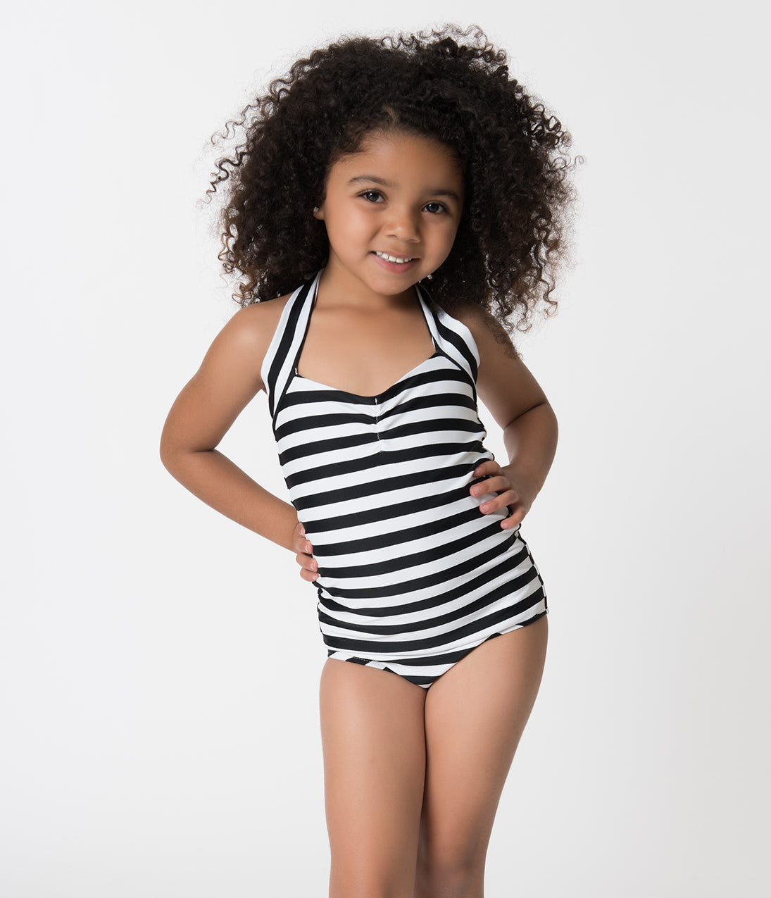 Kids 1950s Clothing & Costumes: Girls, Boys, Toddlers Retro Style Black  White Striped Halter Top Kids One Piece Swimsuit $30.00 AT vintagedancer.com