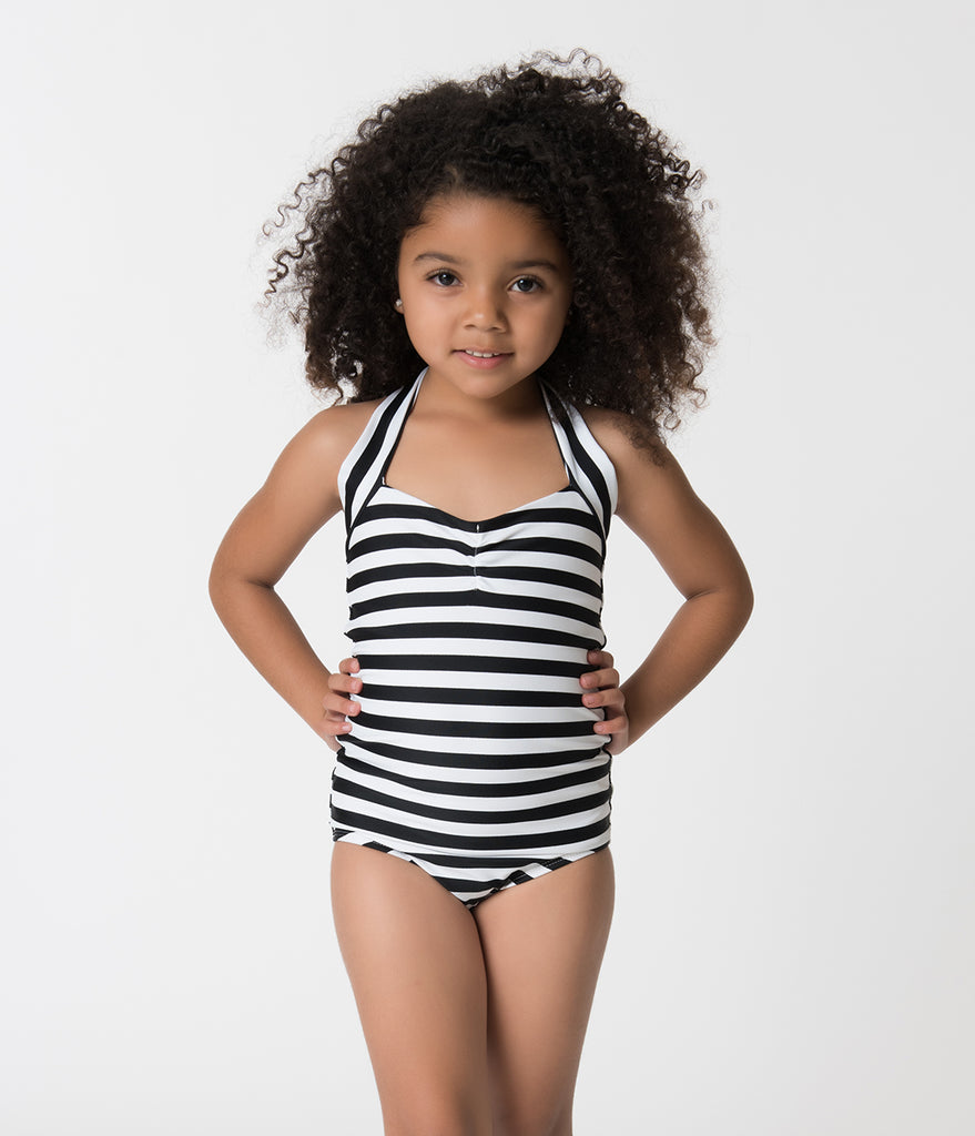 Retro Style Black & White Striped Halter Top Kids One Piece Swimsuit