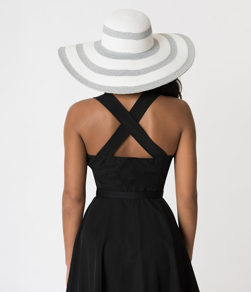 White Straw & Silver Striped Eleni Sun Hat