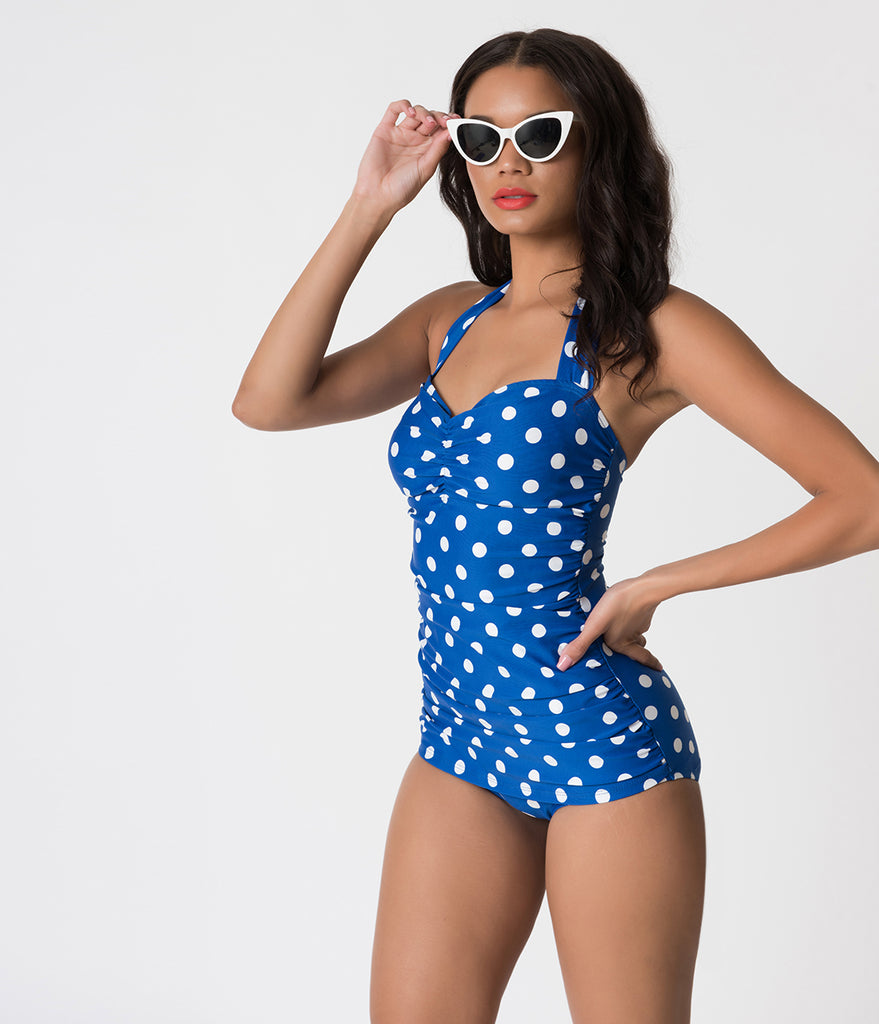 Esther Williams Royal Blue & White Polka Dot Halter Sheath One Piece Swimsuit
