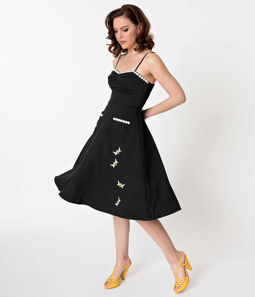 Voodoo Vixen Black Bee Embroidery Flared Dress