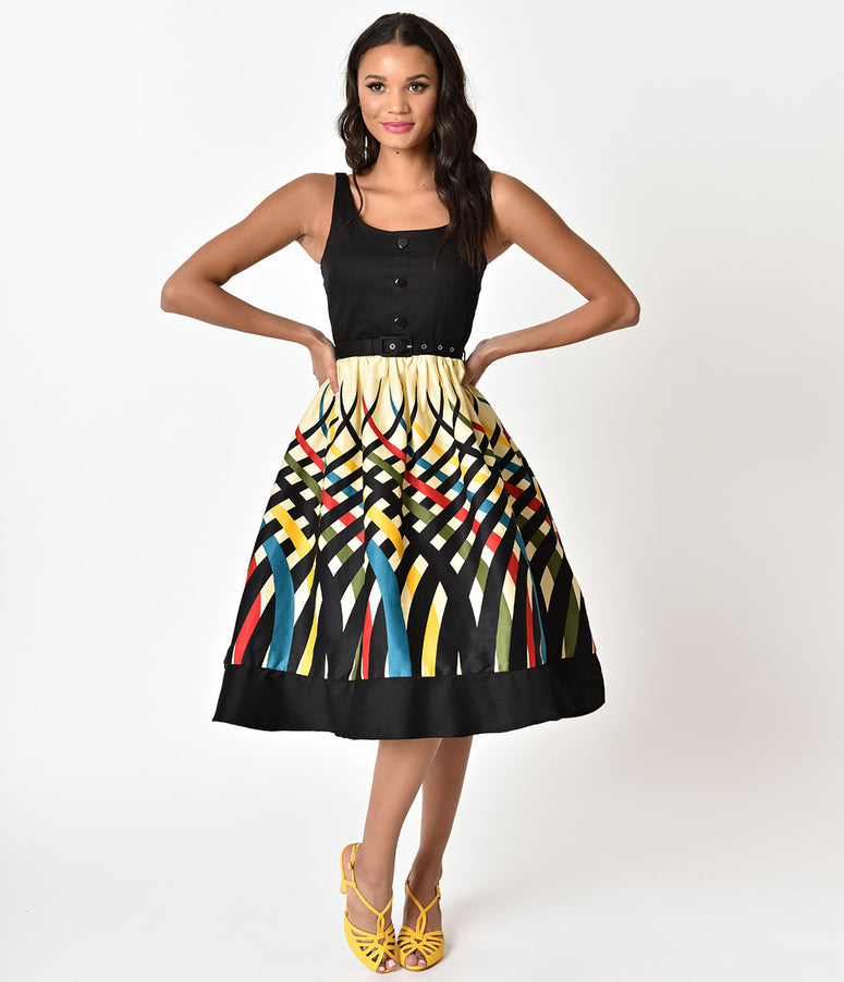 Voodoo Vixen Multi Color Striped Jean Flared Dress