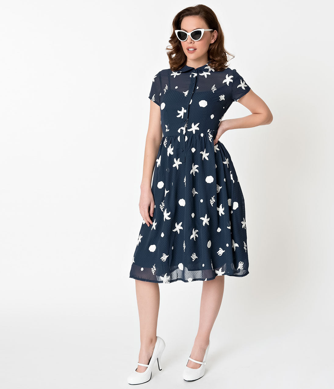 Vintage Tea Dresses, Floral Tea Dresses, Tea Length Dresses Voodoo Vixen Navy Blue Under The Sea Embroidered Mary Swing Dress $48.00 AT vintagedancer.com