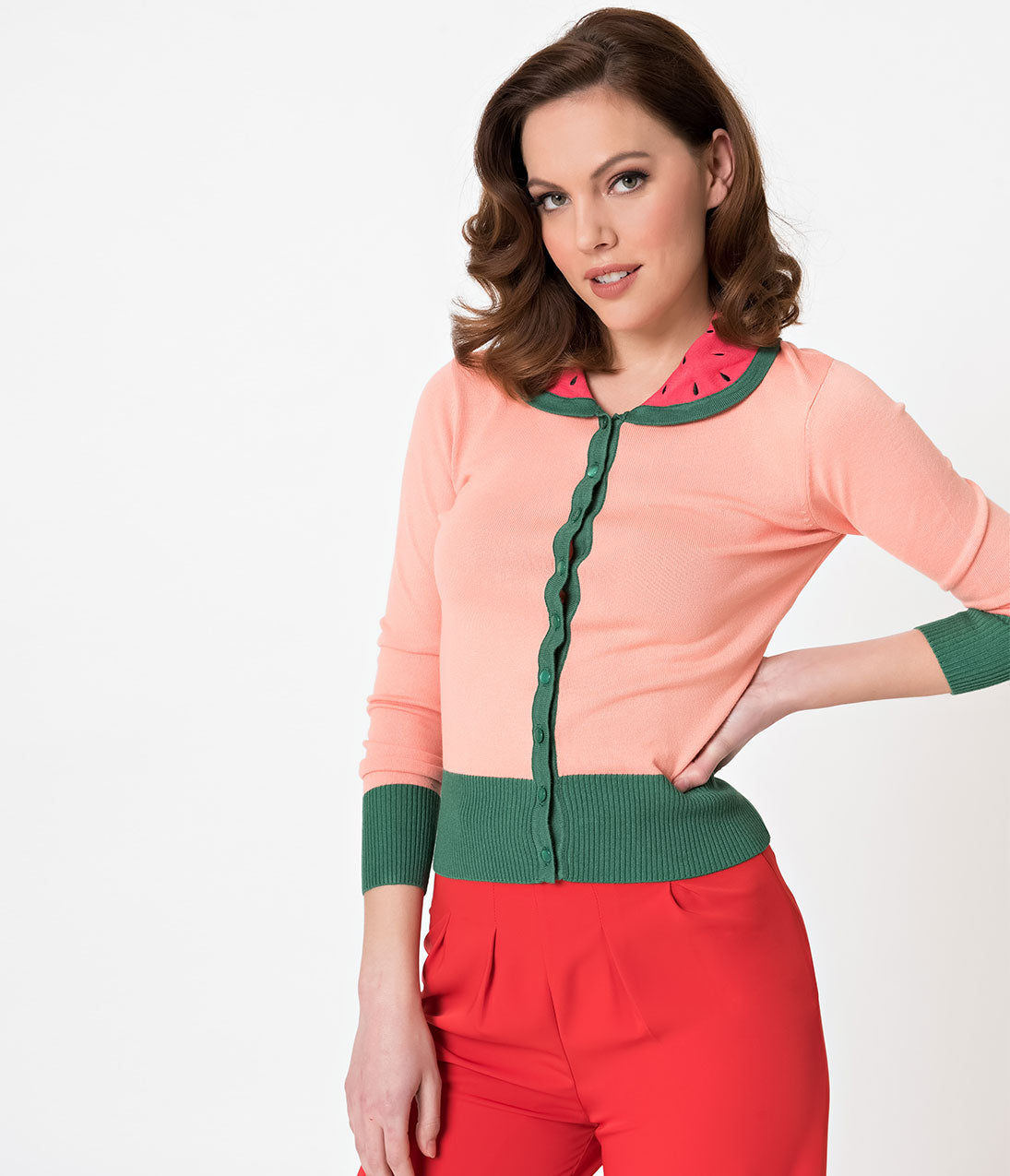 1950s Sweaters, 50s Cardigans, Twin Sweater Sets Voodoo Vixen Baby Pink Long Sleeve Watermelon Cardigan $52.00 AT vintagedancer.com