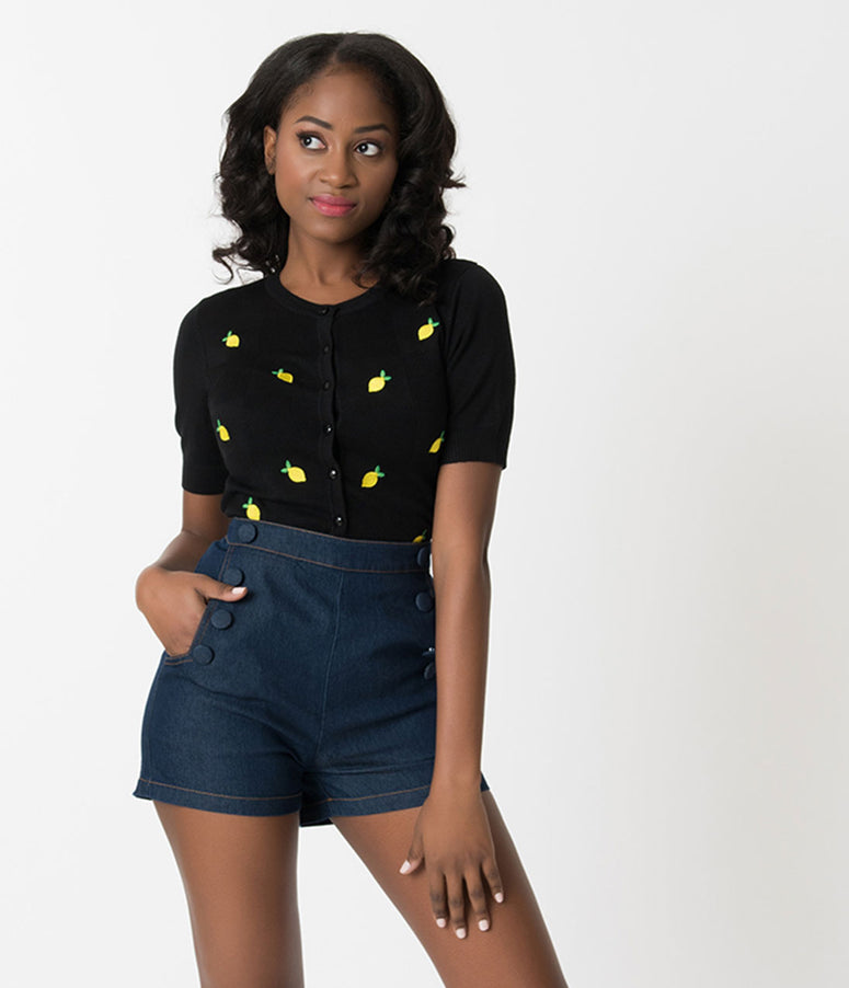 Voodoo Vixen Black Checkered & Lemon Embroidered Fiona Cardigan