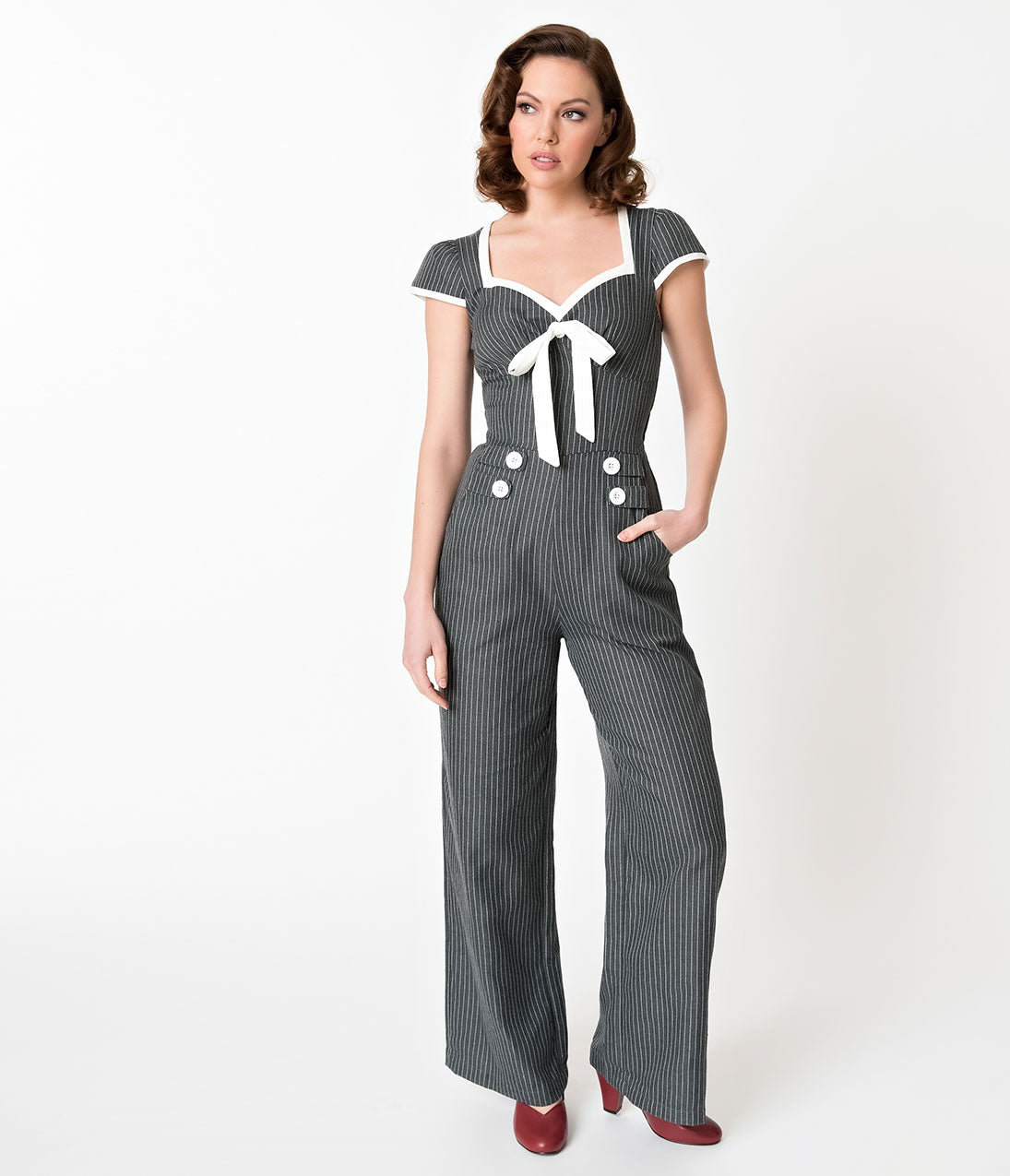 Vintage High Waisted Trousers, Sailor Pants, Jeans Voodoo Vixen Grey  White Pinstriped Leanne Jumpsuit $84.00 AT vintagedancer.com