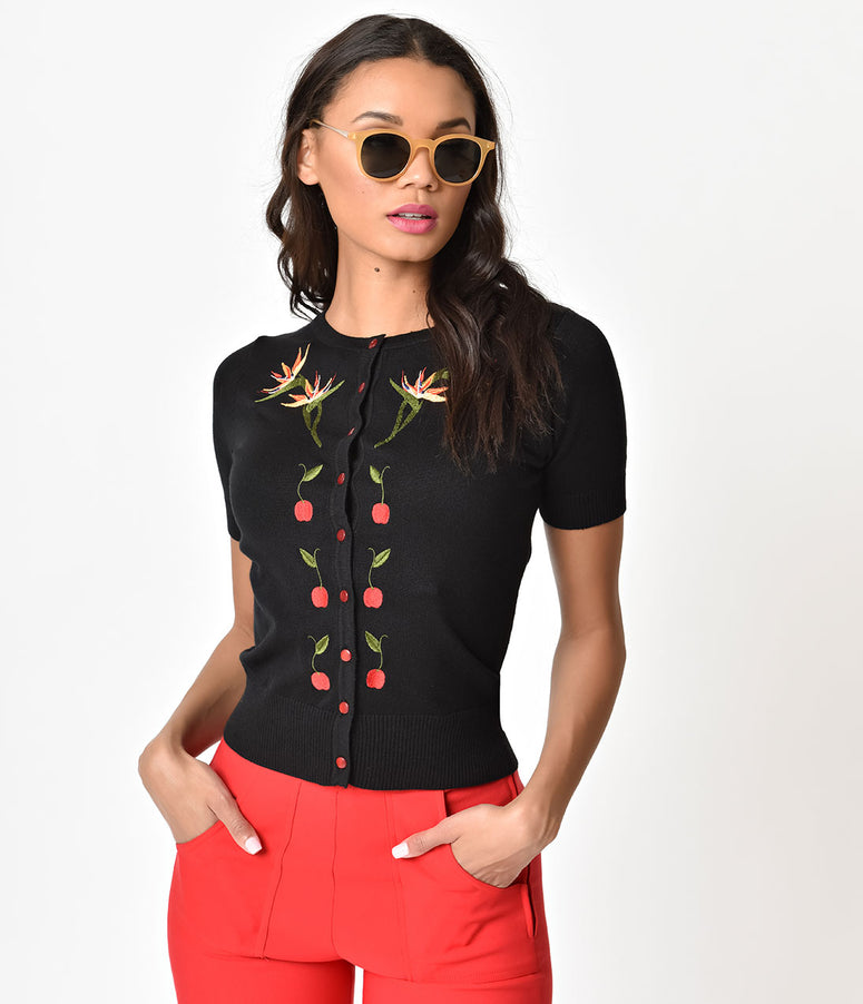 Voodoo Vixen Bird of Paradise Embroidered Polly Cardigan