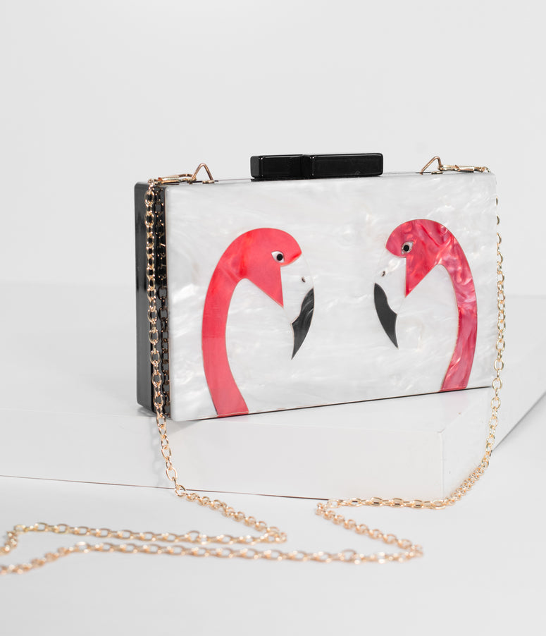 Voodoo Vixen Black & Ivory Marbled Flamingo Box Clutch