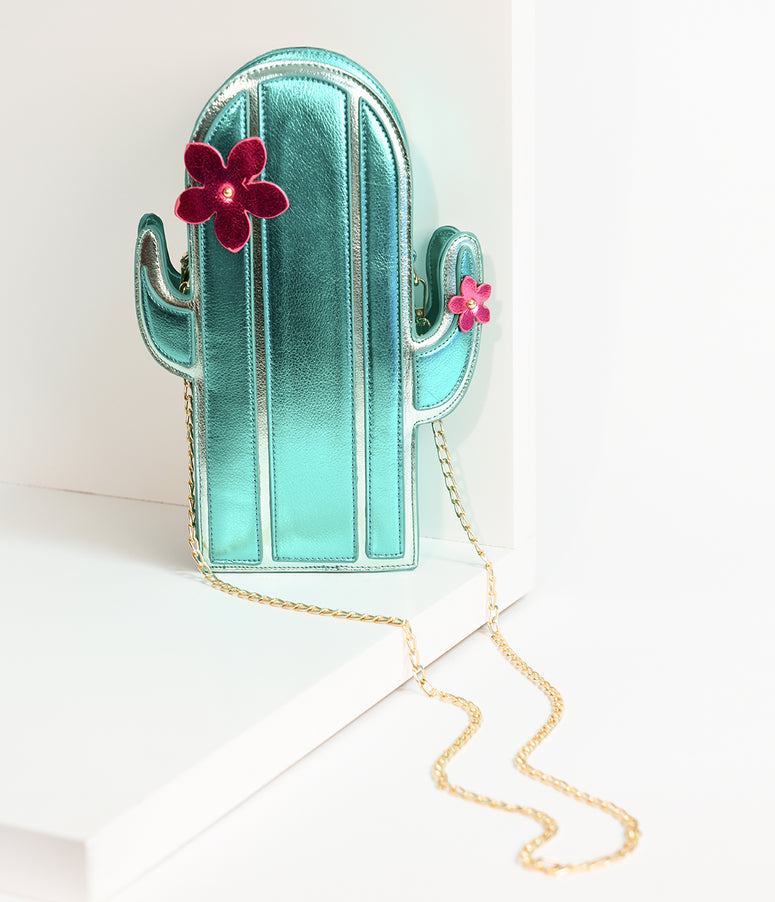 Lulu Hun Green Metallic Leatherette Blooming Cactus Crossbody