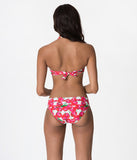 Retro Style White & Red Cherry Print V-Fold Swim Bottoms