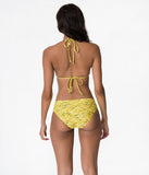 Retro Style Yellow Banana Print Slide Triangle Bikini Swim Top