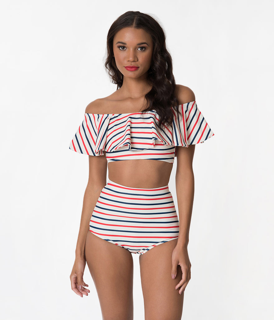 Kingdom & State Red & Navy Blue Striped Ivory Off The Shoulder Bandeau Swim Top