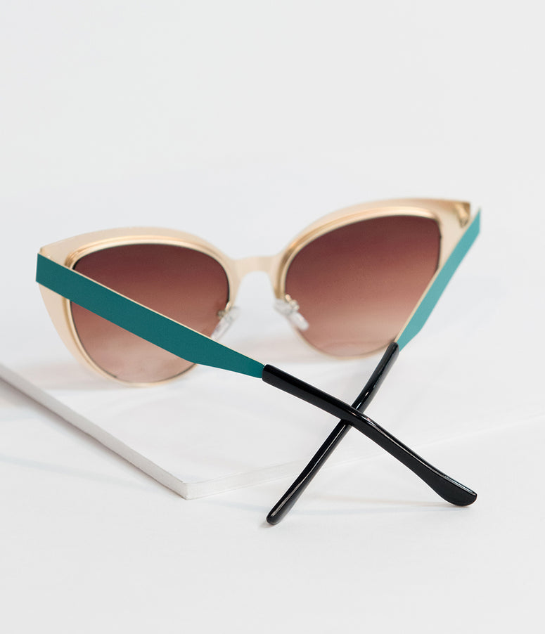 Vintage Style Teal Insatiable Metal Cat Eye Sunglasses