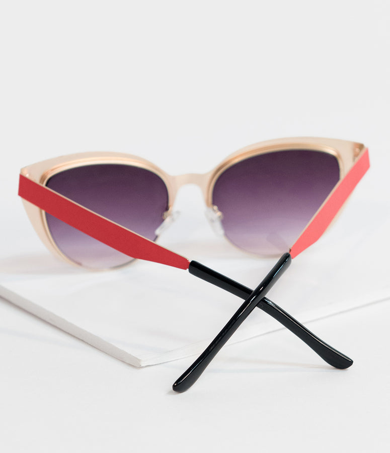 Vintage Style Red Insatiable Metal Cat Eye Sunglasses