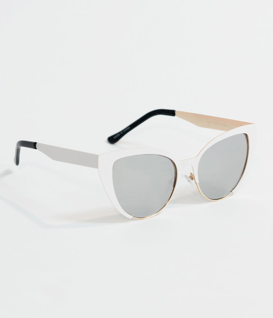 Vintage Style White Insatiable Metal Cat Eye Sunglasses