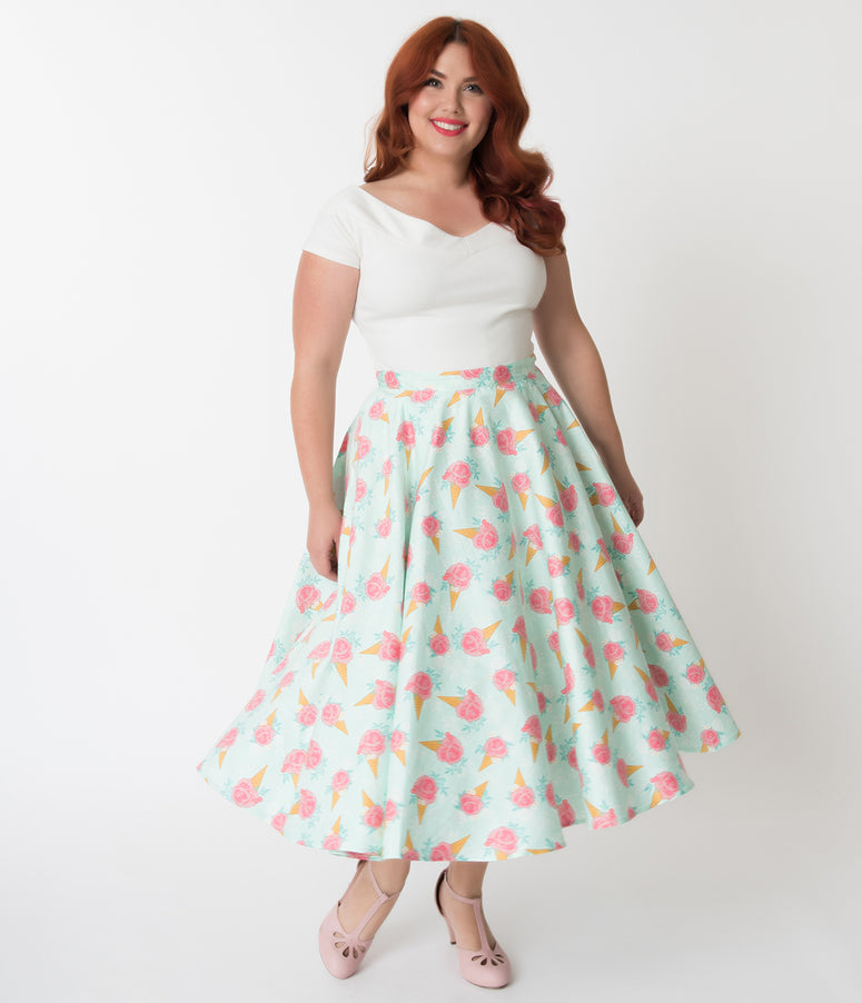 Voodoo Vixen Plus Size Floral Ice Cream Print Amy Swing Skirt