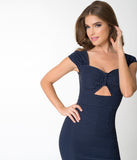 Stop Staring! Navy Blue & White Polka Dot Reyna Wiggle Dress