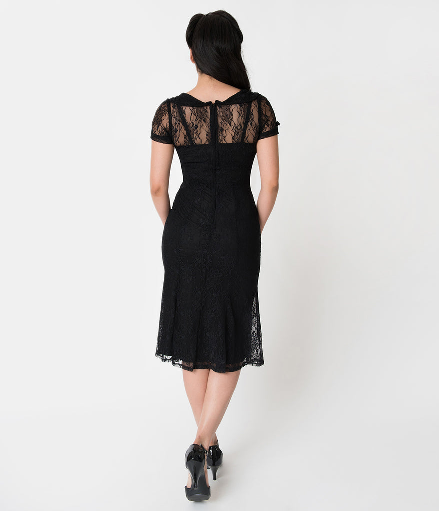 Stop Staring! Black Floral Lace Overlay Short Sleeved Railene Wiggle Dress
