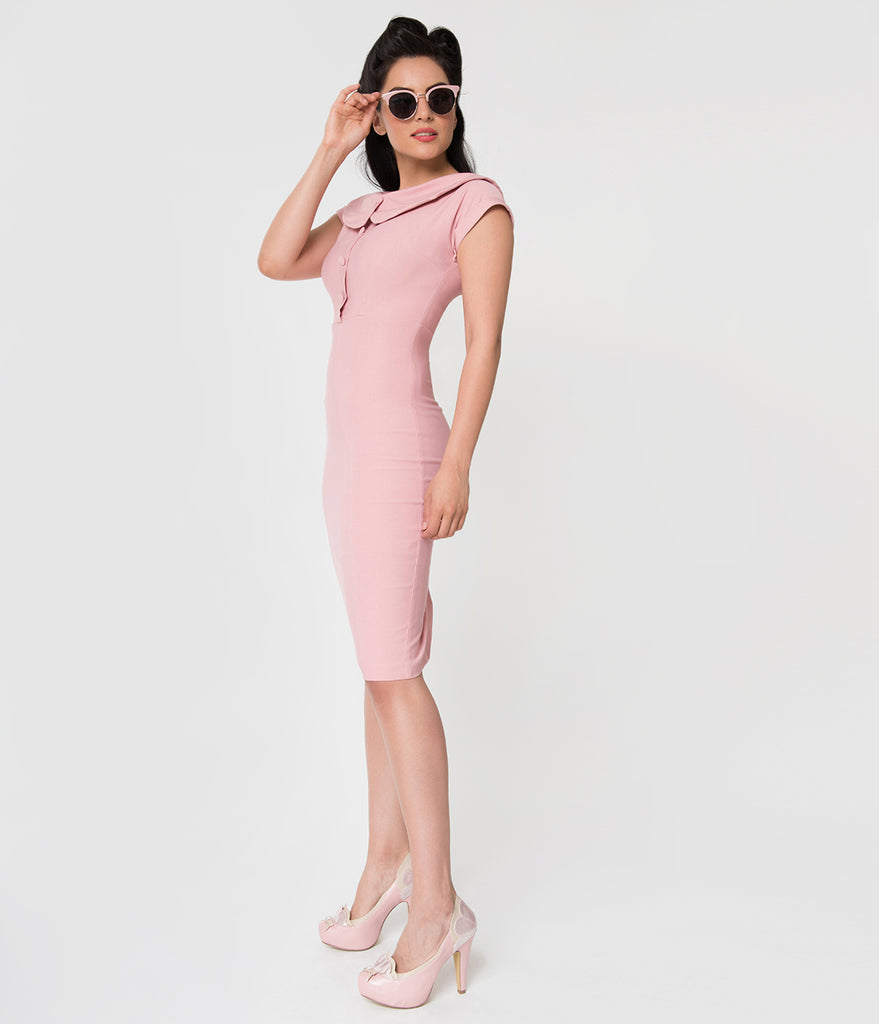 Stop Staring! Vintage Style Pink Cap Sleeve Collared Nellie Wiggle Dress