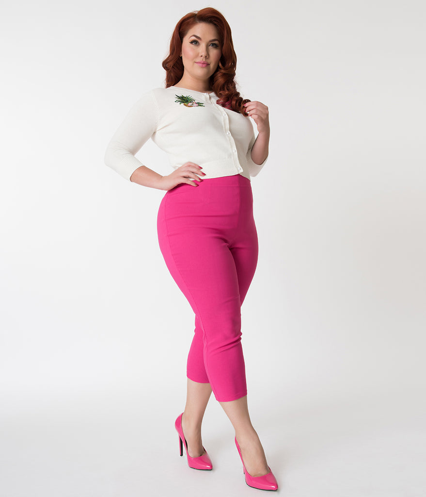Hell Bunny Plus Size Retro Style Hot Pink Tina High Waist Stretch Capri Pants