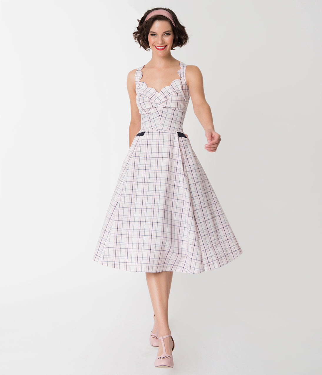 Vintage 50s Dresses: 8 Classic Retro Styles Miss Candy Floss Blush Pink Tartan Magdalena Swing Dress $118.00 AT vintagedancer.com