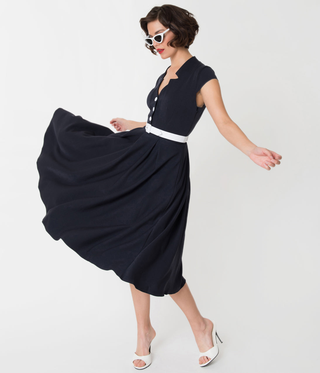 Vintage 50s Dresses: 8 Classic Retro Styles Miss Candy Floss 1950S Style Navy Blue Alessia-Lee Swing Dress $118.00 AT vintagedancer.com