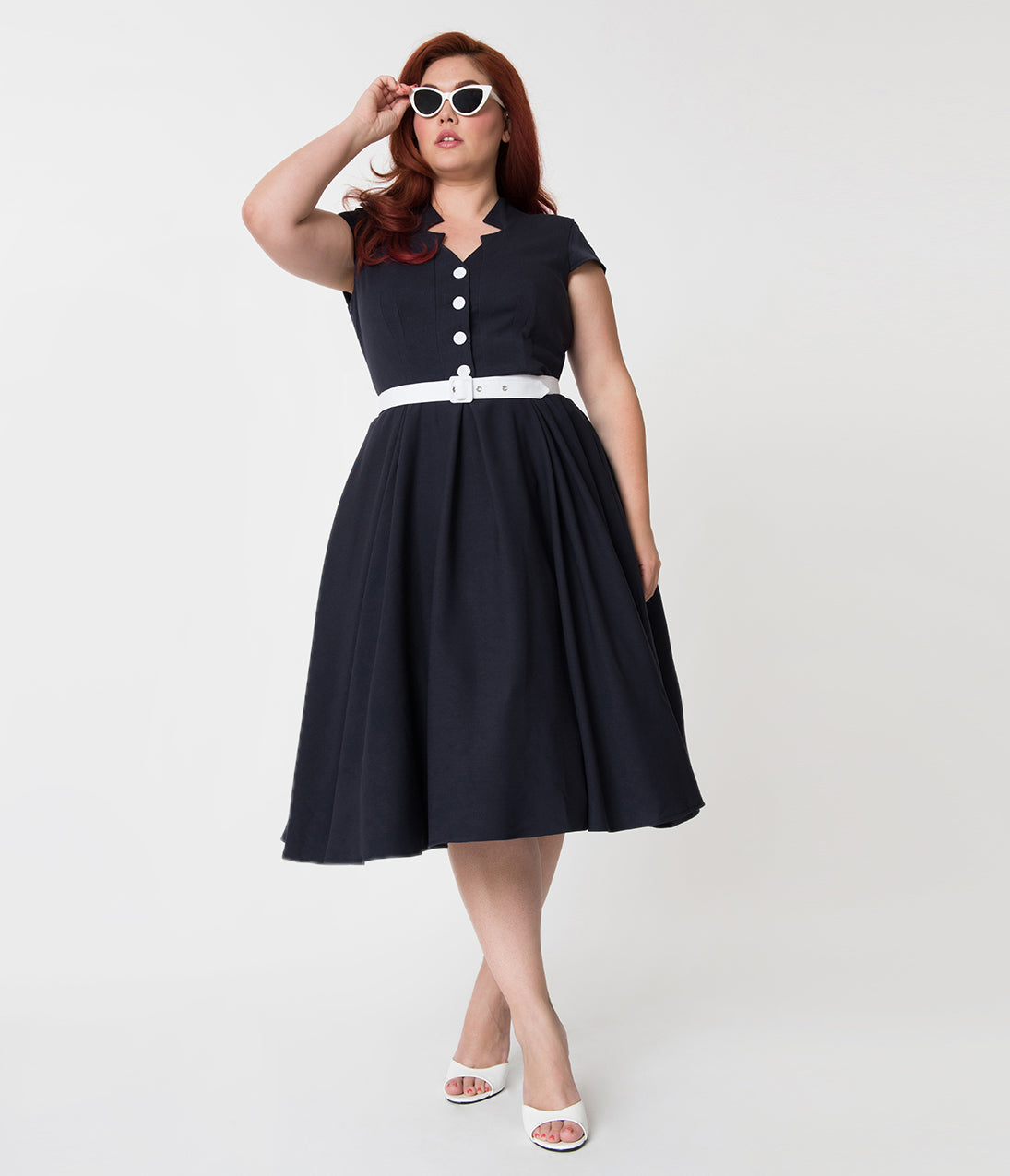 Sailor Dresses, Nautical Dress, Pin Up & WW2 Dresses Miss Candy Floss Plus Size 1950S Style Navy Blue Alessia-Lee Swing Dress $118.00 AT vintagedancer.com