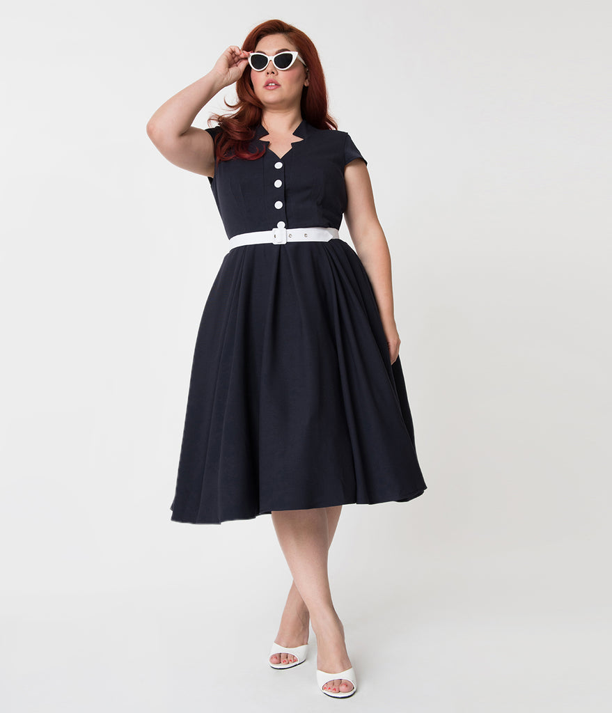 Miss Candy Floss Plus Size 1950s Style Navy Blue Alessia-Lee Swing Dress