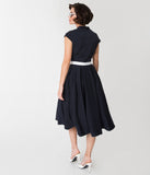 Miss Candy Floss 1950s Style Navy Blue Alessia-Lee Swing Dress