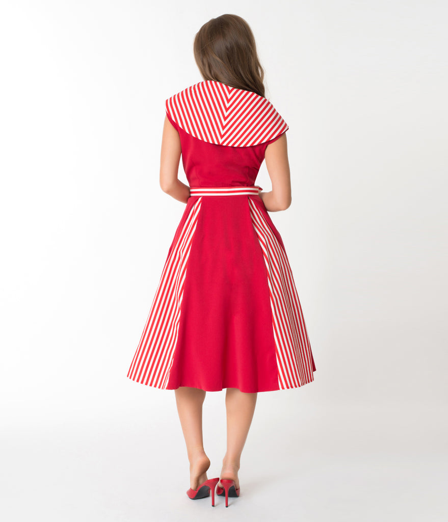 Miss Candy Floss Red & White Stripe Roman Holiday Giustina Swing Dress