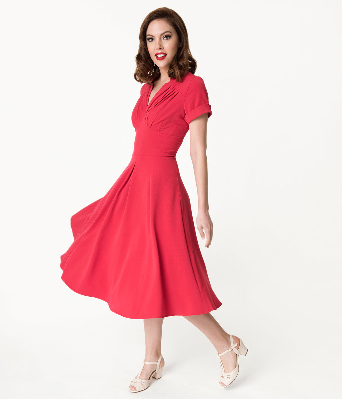 1940s Style Dresses | 40s Dress, Swing Dress Miss Candy Floss 1950S Style Red Sleeved Elena-Rose Swing Dress $94.00 AT vintagedancer.com