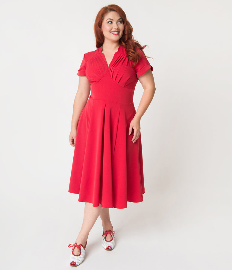 Miss Candy Floss Plus Size 1950s Style Red Sleeved Elena-Rose Swing Dress