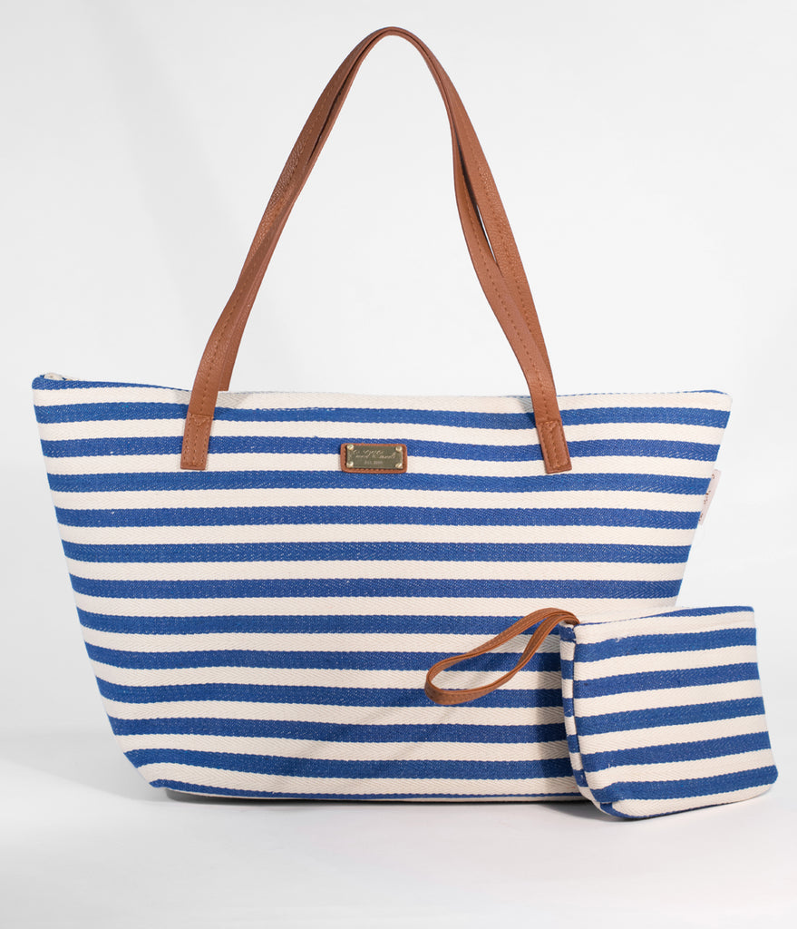 Royal Blue & Tan Striped Woven Canvas Insulated Tote Bag