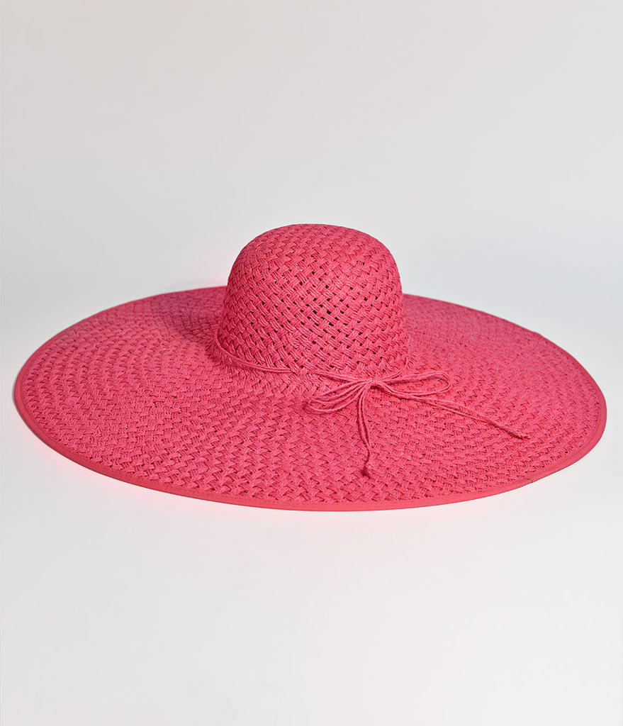 Vintage Style Hot Pink Straw Hat