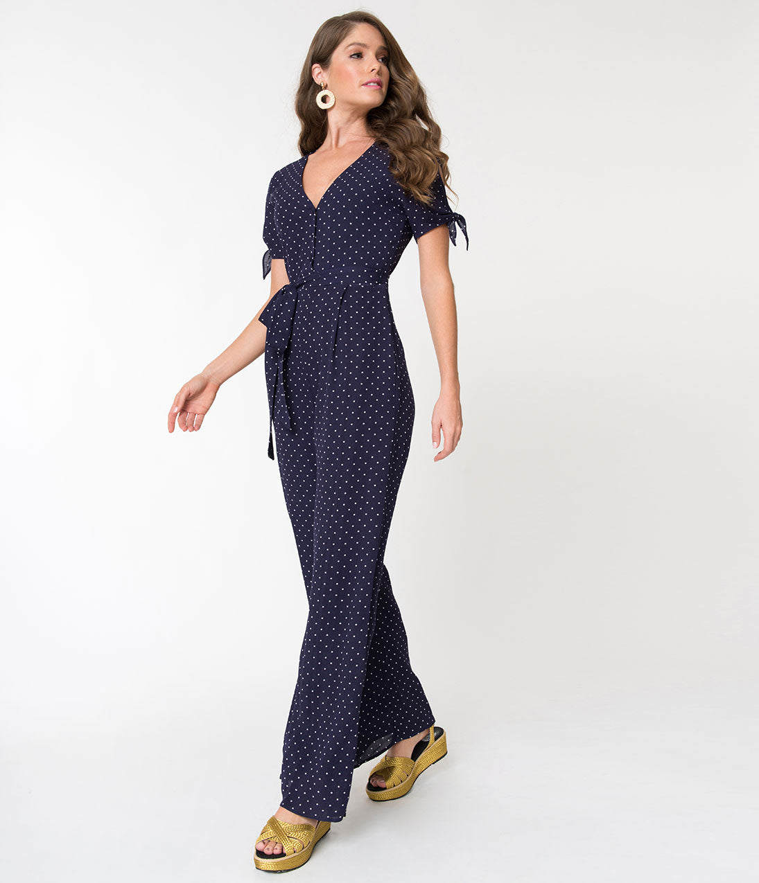Vintage High Waisted Trousers, Sailor Pants, Jeans 1970S Style Navy Blue  White Polka Dot Button Up Jumpsuit $72.00 AT vintagedancer.com