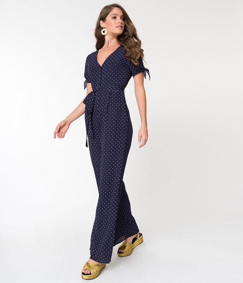 1970s Style Navy Blue & White Polka Dot Button Up Jumpsuit