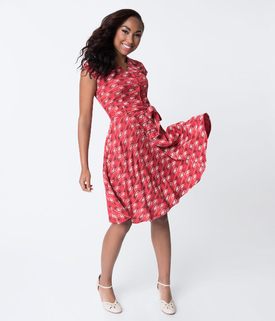 Retro Style Red & Bicycle Print Ava Flare Dress