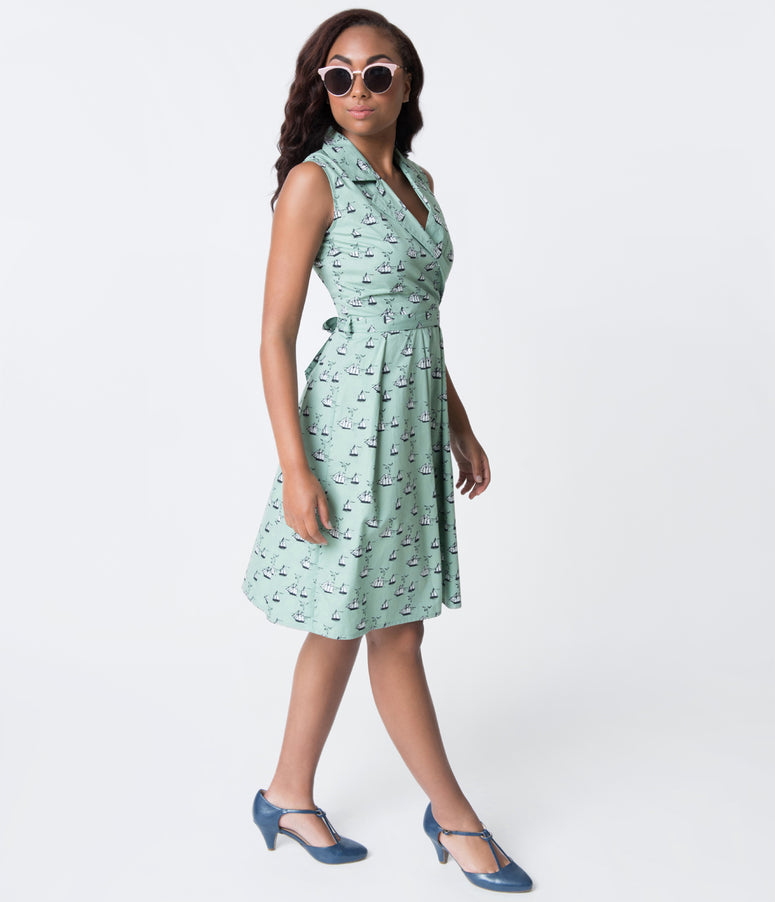 Wasabi Green & Clipper Boat Print Cotton Flare Dress