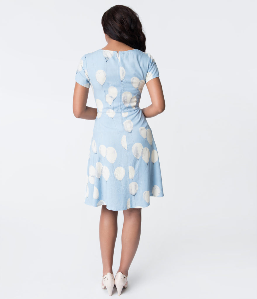 Light Blue & White Balloon Print Gloria Flare Dress