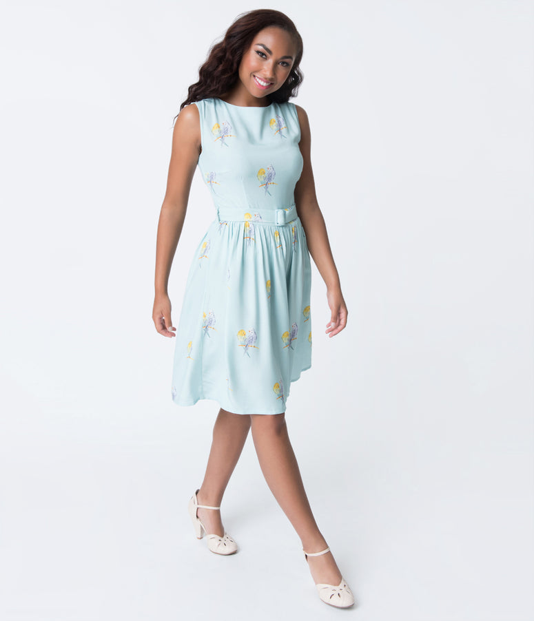 Light Aqua Blue & Budgie Bird Print Lauren Flare Dress