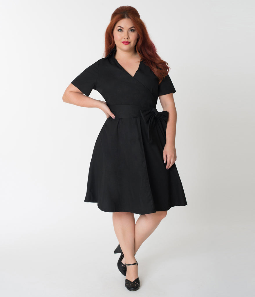 Plus Size 1940s Style Black Cotton Short Sleeves Swing Dress ...