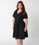 Plus Size 1940s Style Black Cotton Short Sleeves Swing Dress