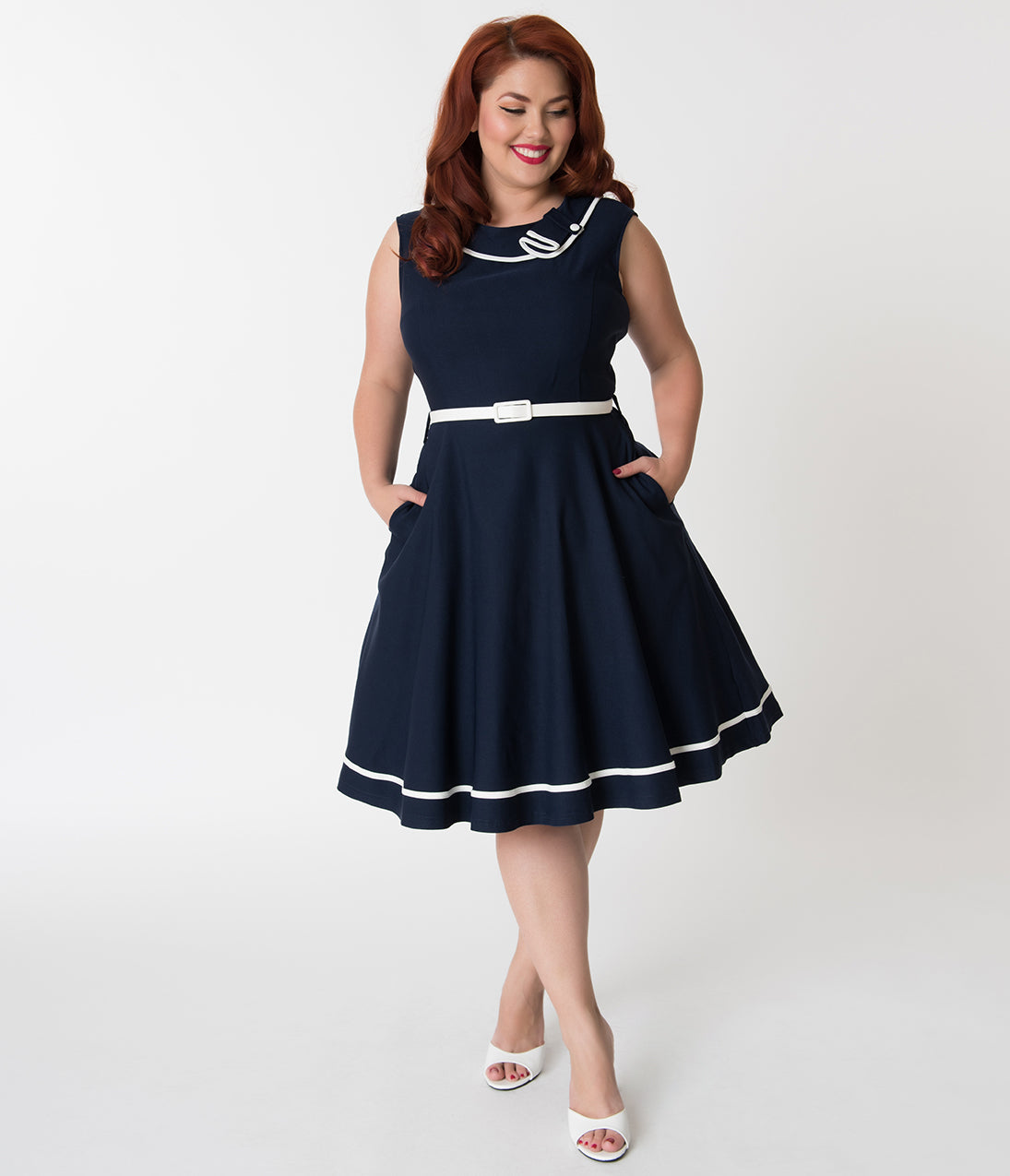 Sailor Dresses, Nautical Dress, Pin Up & WW2 Dresses Plus Size Navy Blue  White Nautical Sleeveless Cotton Stretch Swing Dress $78.00 AT vintagedancer.com