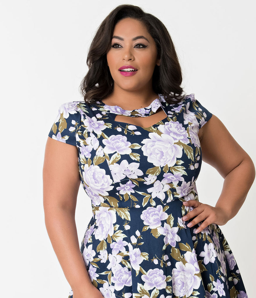 Plus Size Navy & Purple Florals Cap Sleeve Cotton Swing Dress