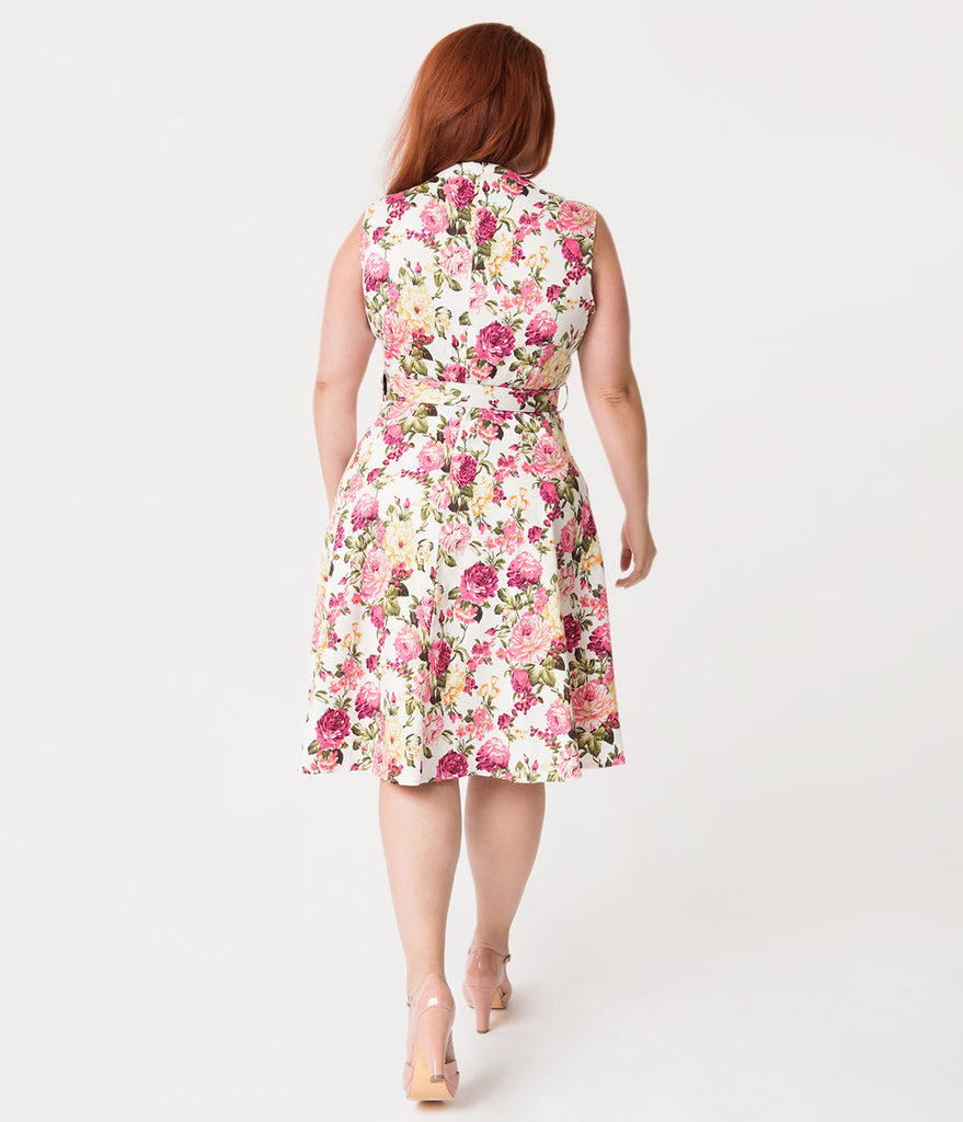 Plus Size White & Blooming Florals Sleeveless Cotton Swing Dress