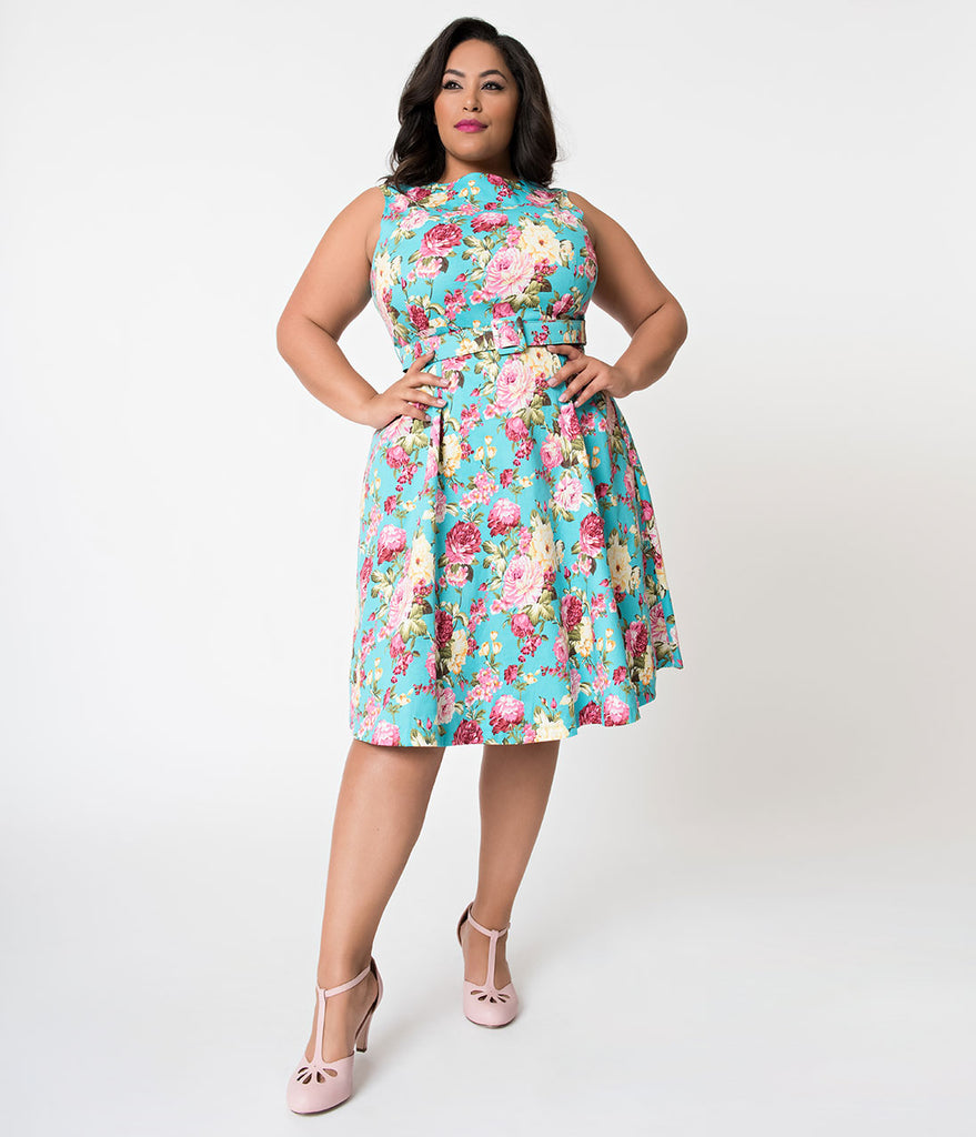 Daily Deal! Plus Size Turquoise & Blooming Florals Sleeveless Cotton Swing  Dress