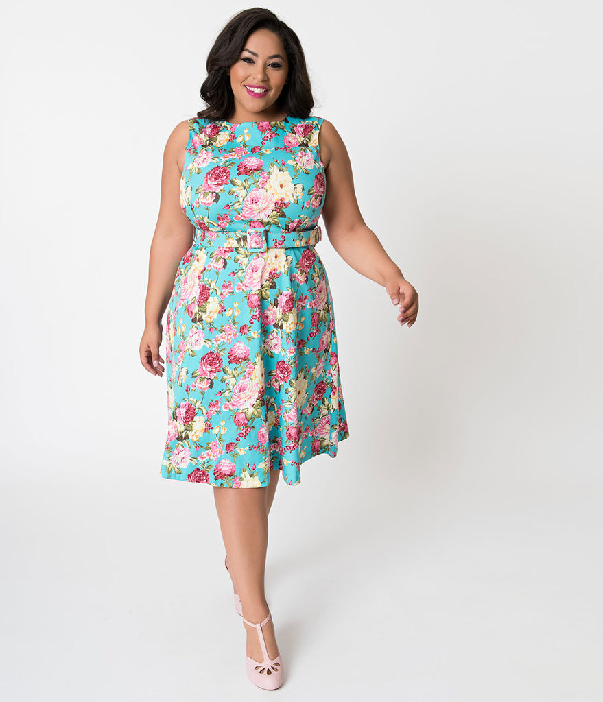 Plus Size Turquoise & Blooming Florals Sleeveless Cotton Swing Dress