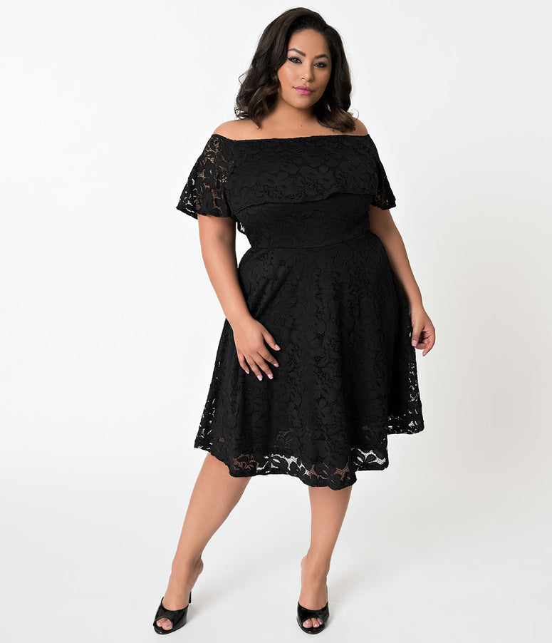 Plus Size Black Lace Off Shoulder Ruffle Cocktail Swing Dress